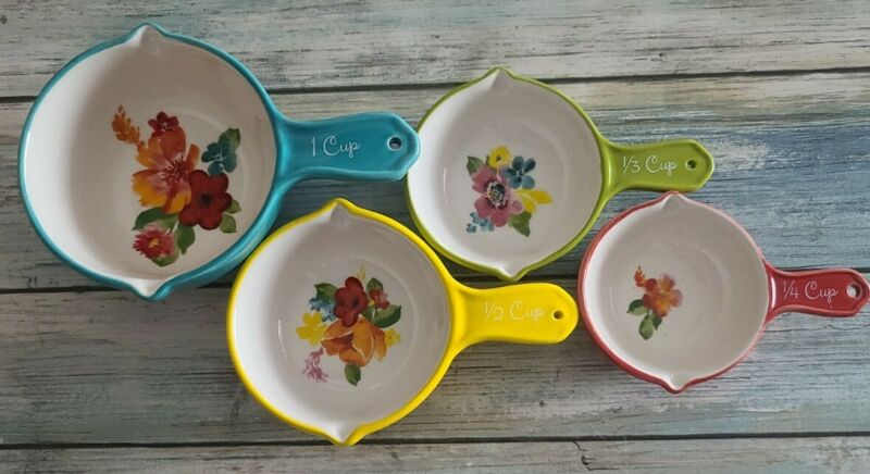 """Pioneer Woman ~ Set of Four (4) Measuring Cups ~ """"Wildflower Whimsy"""" ~ Stoneware"""