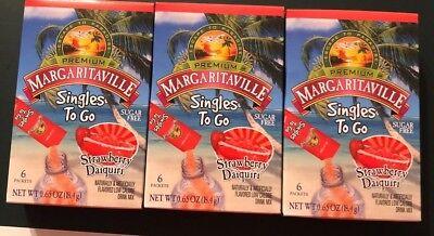 Daiquiri Strawberry Mix - 3X Boxes Margaritaville Singles To Go Strawberry Daiquiri Mix Water Enhancer