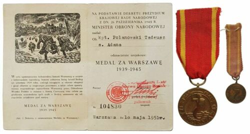 3227 POLAND POLISH WWII MEDAL FOR WARSAW GRABSKI-type +DOC