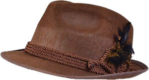 German Brown Felt Oktoberfest Hat Beer Festival Tyrolean Bavarian Fancy Dress UK
