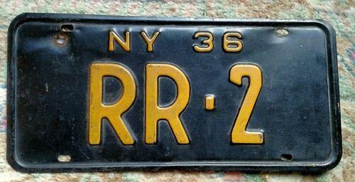 1936 New York License Plate RR-2