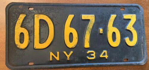 Rare All Original 1934 New York License Plate 6D67-63