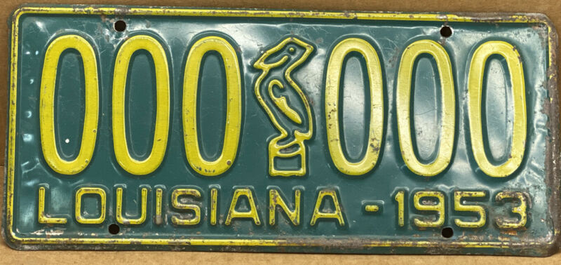 ORIGINAL 1953 •LOUISIANA• SAMPLE LICENSE PLATE ( 000-000 ) SHIPS FREE