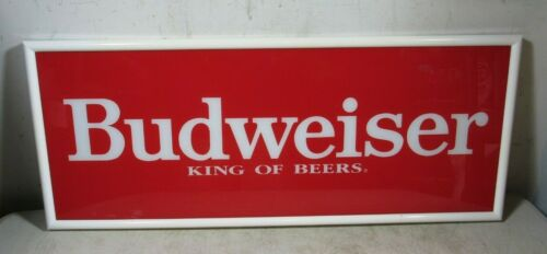 Vintage Budweiser King Of Beers Glass Sign