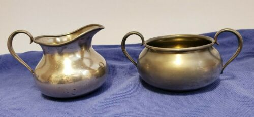 FORBES SILVER CO. QUADRUPLE SILVER PLATED CREAMER & SUGAR SET PITCHER BOWL #1024
