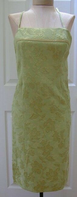 CARLISLE $415 LIGHT GREEN BROCADE FLORAL COCKTAIL PARTY DRESS ROMANCE sz 10 NEW