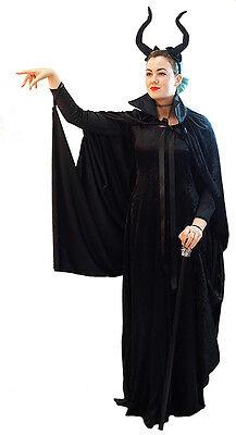 HALLOWEEN/Evil Fairy Queen MALEFICENT DRESS, CAPE & HORNS All Ladies Plus Sizes
