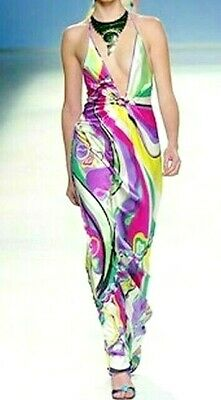 Emilio Pucci Embellished Silk Long Maxi Sun Dress 2005 Runway Gown US 8 10 IT 44