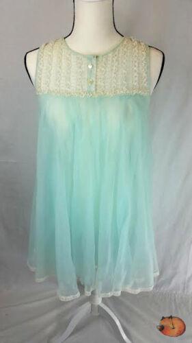 Vtg Blue Dbl Layer Chiffon Nylon Nightgown Negligee Babydoll Ruffle Big Sweep S