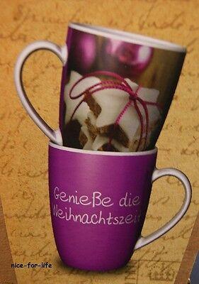 2x Geschenk Becher Für Dich Weihnachtszeit Zimtsterne Tee Kaffee Tasse