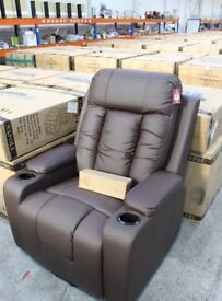 NAPOLI DUAL MOTOR MASSAGE AND HEATING LIFT CHAIR IN MATT BROWN FAUX LEATHER -NEW