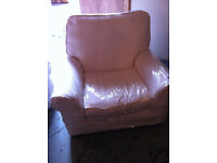 2x white arm chairs fully removable covers