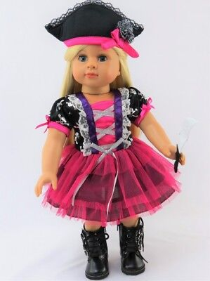 Pirate Hat For Girls (Doll Clothes Pirate Halloween Costume Pink Made For 18 Inch American Girl)