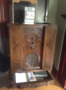 Antique Radio Cabinet with Modern CD Player