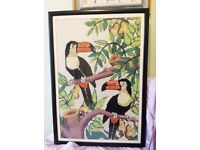 Large tapestry needlepoint wall hanging of Toucans in the Jungle Frida Kahlo picture painting