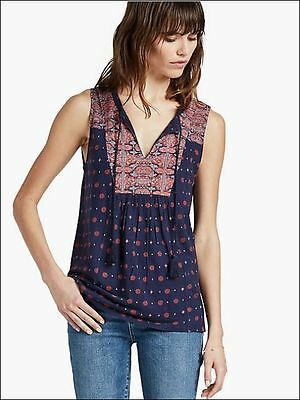 Lucky Brand Womens M Blue Mixed Print Tie Neck Boho Tank Top Blouse Shirt NEW