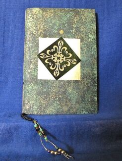 Green and Gold Notebook with Green Hand Made Paper and Beads Clifton Beach Cairns City Preview