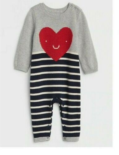 Baby GAP Sz 0-3-6 12-18-24 M NEW VALENTINE Knit Sweater Heart Boy Girl One Piece