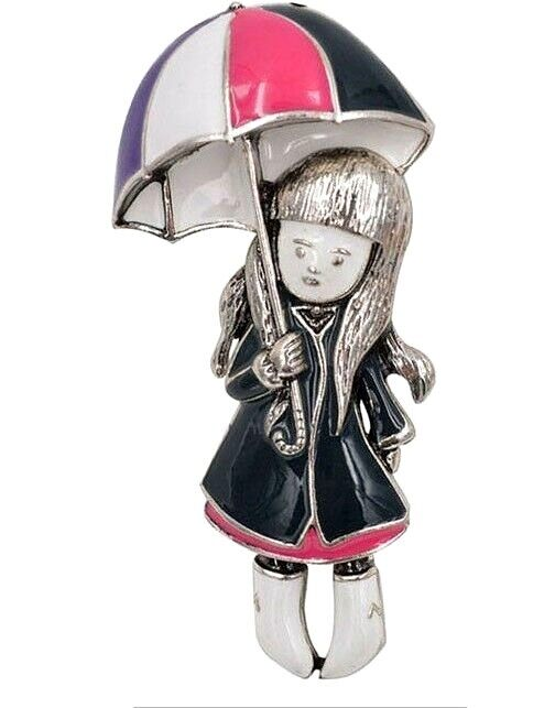 Adorable Rainy Day Girl Pin With Umbrella, Raincoat and Boot