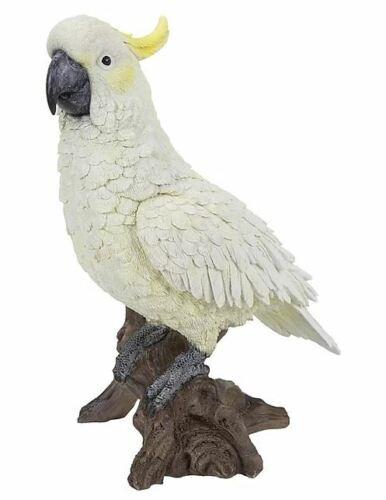 "11.5"" COCKATOO ON STUMP FIGURINE LIFELIKE BIRD HOME AND GARDEN DECOR"