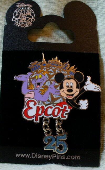 Walt Disney World Epcot 25th Anniversary Figment & Mickey Mouse Dangle Pin