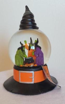 Witch Trio Around Cauldron Black Witch Hat Water Globe Musical Halloween NWT](Halloween Witches Music)