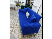 BRAND NEW CHESTERFIELD 3 SEATER BLUE COLOR SOFA COUCH IN STOCK