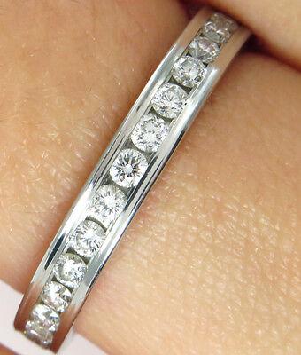 0.75CT PLATINUM ETERNITY DIAMOND ALL AROUND WEDDING ANNIVERSARY RING in SIZE 6