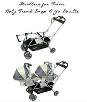 two car seat and double stroller