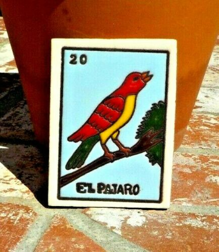 EL PAJARO BIRD LOTERIA RED CLAY TILE 3 IN x 4 IN  MEXICO W/ FREE SHIPPING