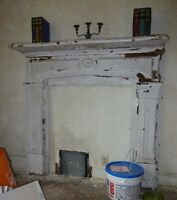 antique pine fireplace
