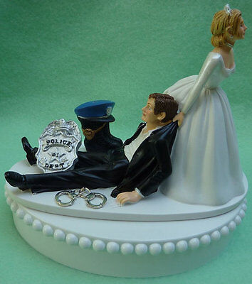 Wedding Cake Topper Policeman Themed Police Officer Handcuffs Badge Boot Groom's](Police Cake Topper)