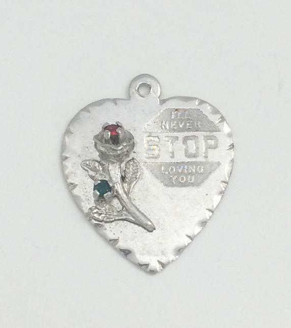 Vintage Sterling Silver  Charm Pendant w/ Rose ,Red & Blue Crystal