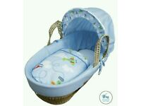 Kinder valley blue come fly with me moses basket. Brand new in sealed packs. 2 left in stock.