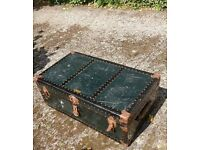 Classic green shabby chic steamer trunk