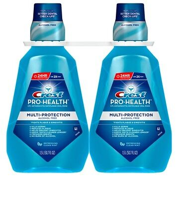 2 Pack Crest Pro-Health Multi-Protection Mouthwash 1.5 Liter Each - Alcohol-Free