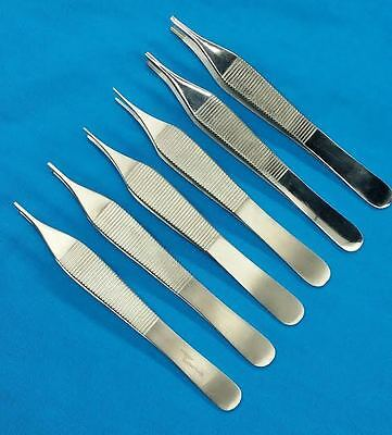 Set Of 6 Assorted Adson Tissue Brown Dressing Forceps 4.75 Surgical Instruments