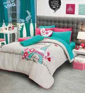 new girls love paris comforter sheet bedding set full queen 9pcs ebay. Black Bedroom Furniture Sets. Home Design Ideas