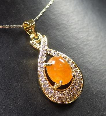 Gold Plate Yellow JADE Pendant Cabachon Knotted coco Diamond (Imitation) 287646, used for sale  Shipping to Canada