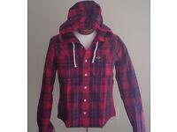 Hollister lumberjack hood shirt