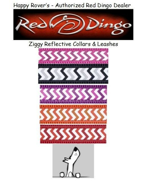 RED DINGO REFLECTIVE SAFETY Dog Collars / Leash - Pick Size/