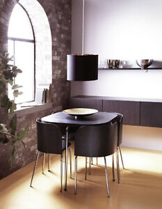 Like New IKEA FUSION Table and 4 Chairs Dining Set - Brown Black