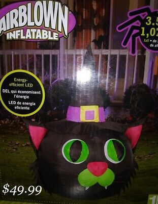 Halloween Inflatable Black Cat (Gemmy INFLATABLE HALLOWEEN WITCH BLACK CAT HEAD HAUNTED HOUSE  AIRBLOWN )