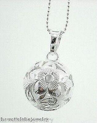 (15mm Silver Hawaiian OW Plumeria Round Ball Pendant)