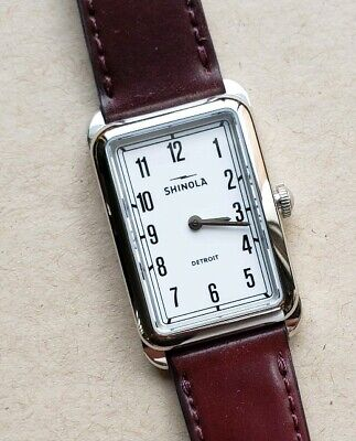 Shinola Muldowney Watch With 24 x 32mm White Face Burgandy Leather Band