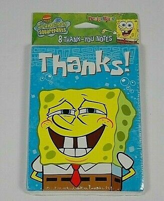 Spongebob Thank You Cards (Spongebob Squarepants Thank You Notes Cards 8 Each Envelopes New Vintage 2001)