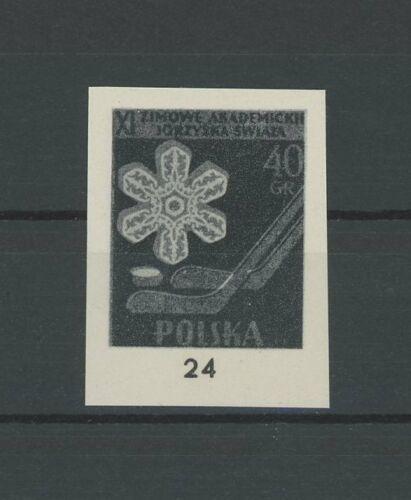 POLAND OFFICIAL BLACK PRINT 1958 RARE !! SPORTS ICE-HOCKEY SNOW CRISTALL /m1941