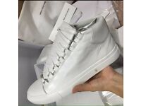 Balenciaga Arena Paris High Top White Creased Leather Men's Designer Trainers