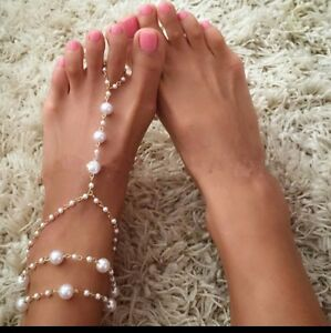 One Pearl Gold Barefoot Sandals Anklet Ankle Bracelet Ring Wedding Boho  #23AA