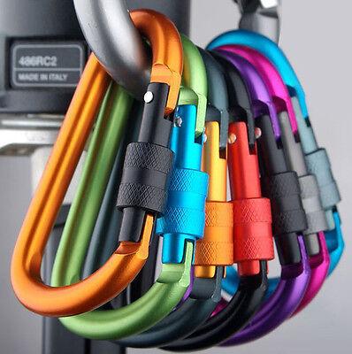 New 4PCs Aluminum Alloy Carabiners D-Ring Clip Hook Climbing Keychain Screw Lock